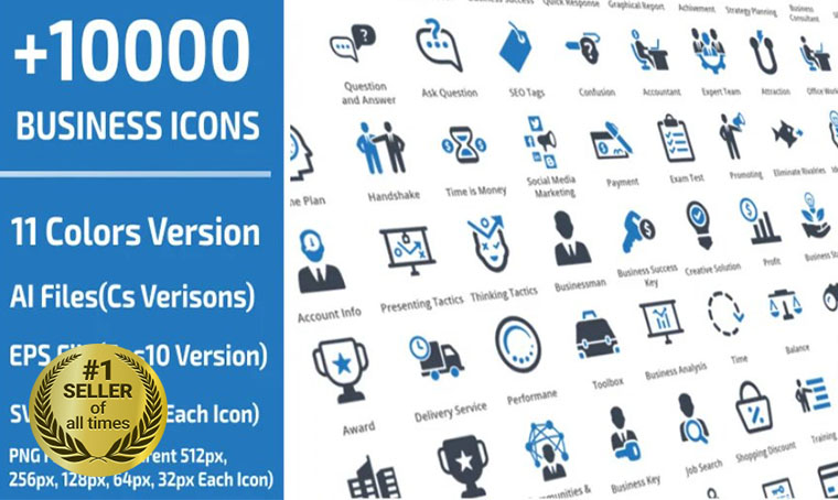 10000 Business Template Iconset digital bestseller