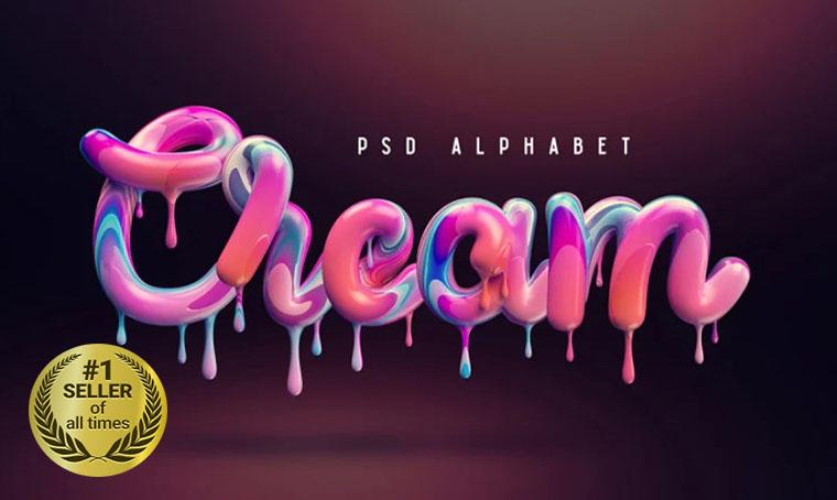 Cream alphabet Font digital bestseller