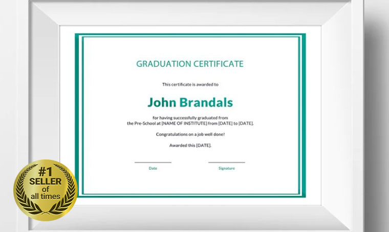 Free High School Graduation Certificate Template digital bestseller