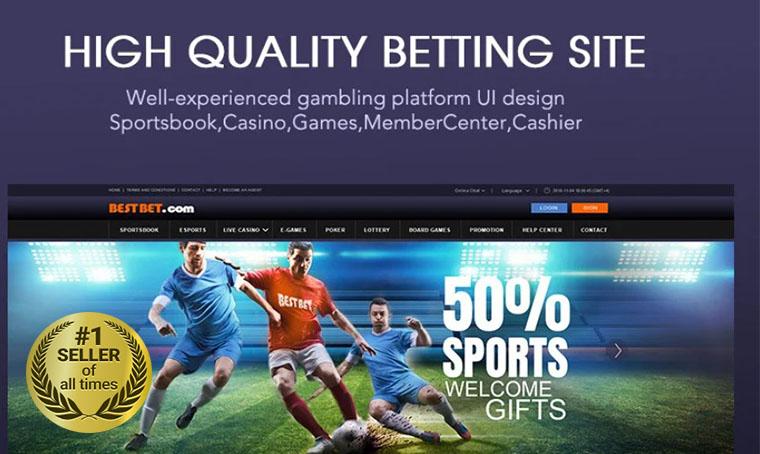 Full gambling site UI PSD digital bestseller