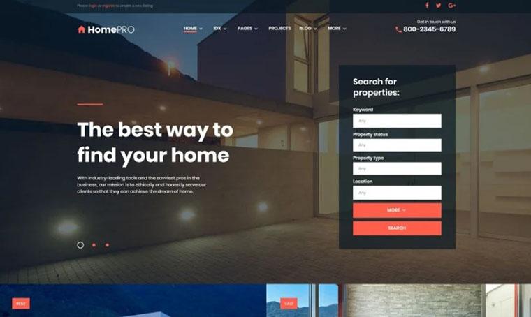 HomePro - Real Estate WordPress Slider Theme