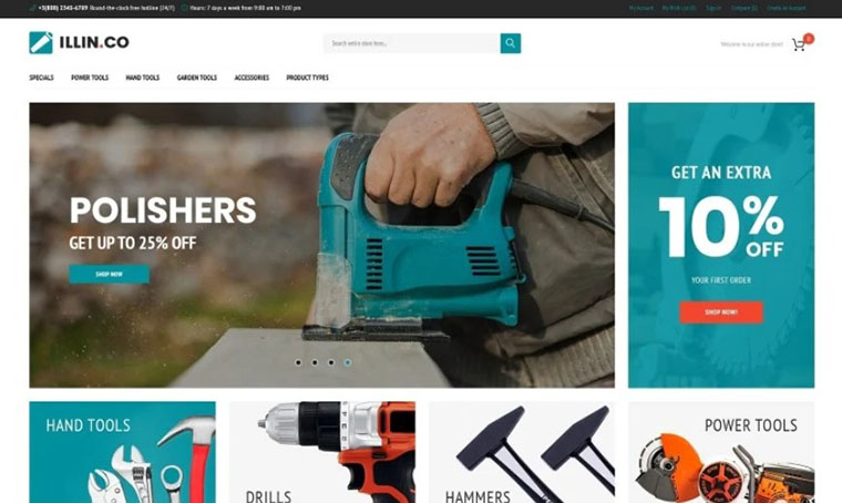 Illin.co - Tools and Equipment Magento theme