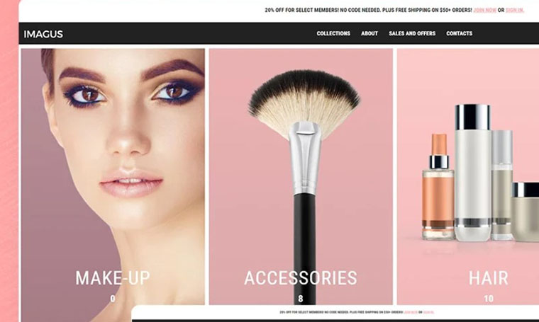 Imagus Cosmetics Store fashion theme