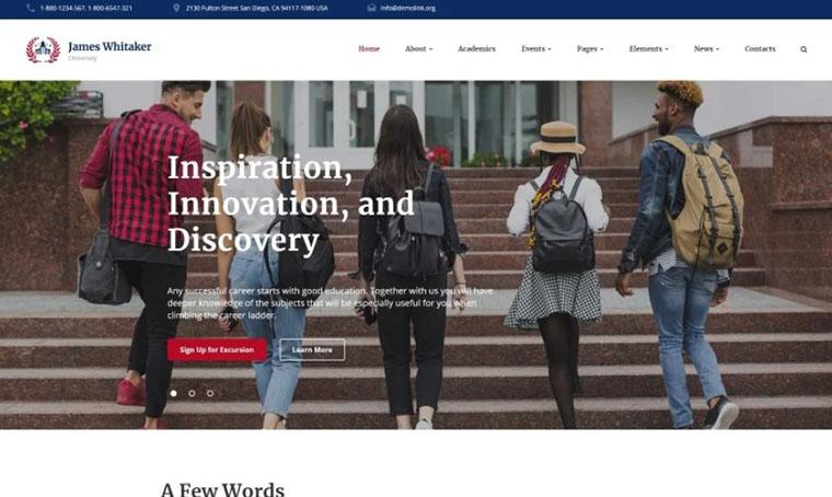 James Whitaker - Educational HTML slider template