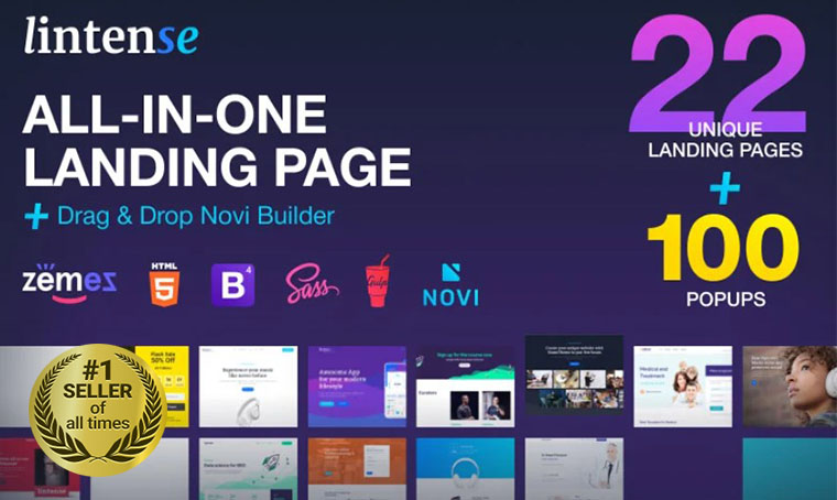 Lintense All-In-One Landing page
