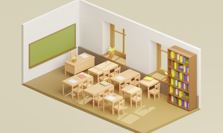 Low Poly Chair, Table, Plant, Window, Bookshelf in a Classroom 3D Model