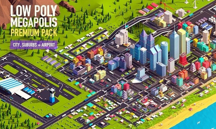 Low Poly Megapolis City 3D Model