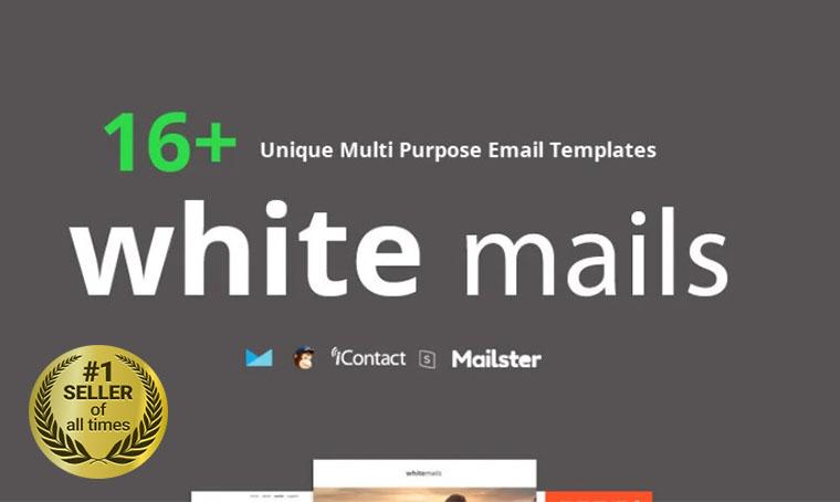White Mails Newsletter template digital bestseller
