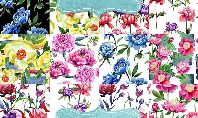 100 Patterns Of Pionies Watercolor Flower Vectors