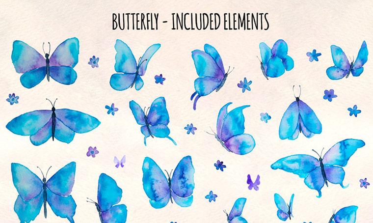 35 Blue Butterflies Women's Day Clipart