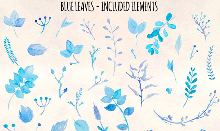 36 Pretty Blue Leaves Women's Day Clipart