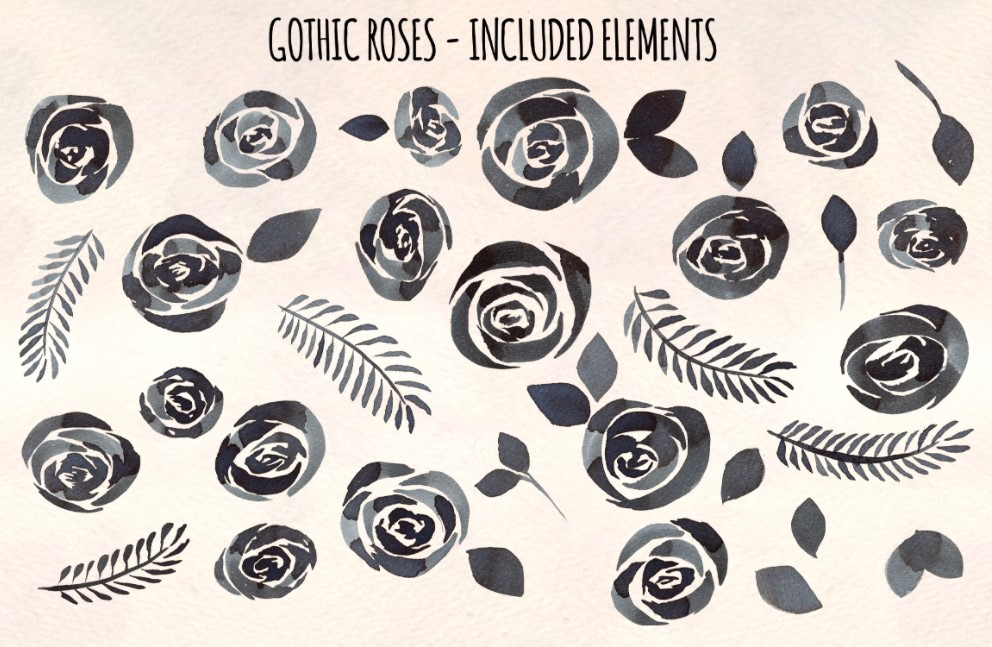 36 Watercolor Gothic roses