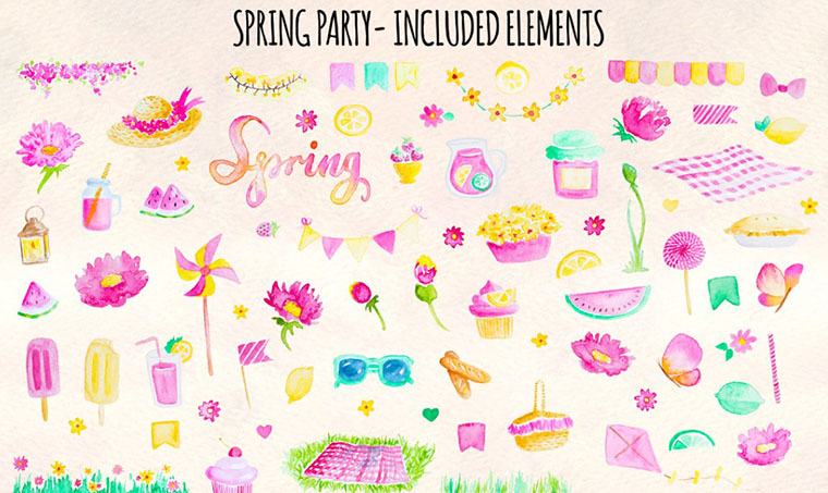 77 Spring Party Pink Lemonade Clipart
