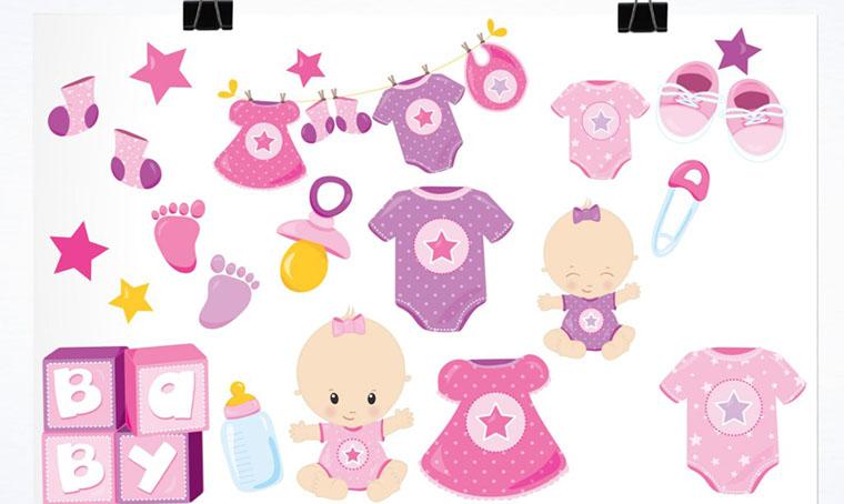 Baby Girl Illustration Pack Women's Day Clipart