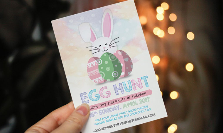 Easter Egg Hunt - Party Invitation Template For Easter Photoshop Tutorial