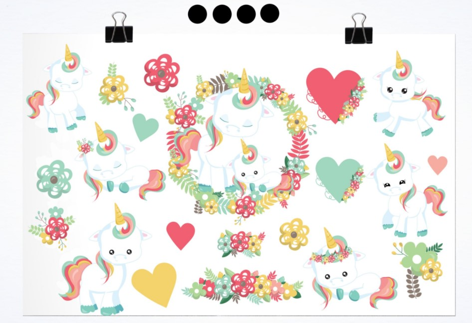 Floral Unicorn Spring flowers clipart
