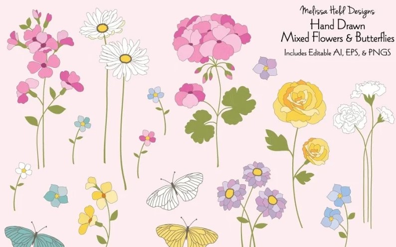 Hand drawn Spring flowers clipart