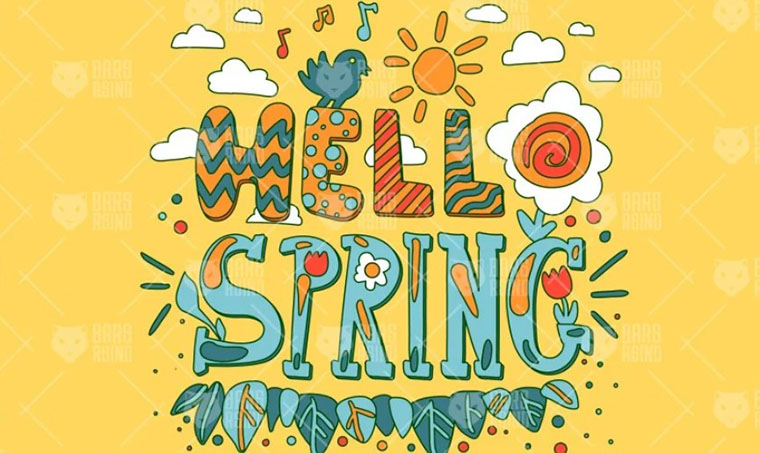 Hello Spring Women's Day Clipart