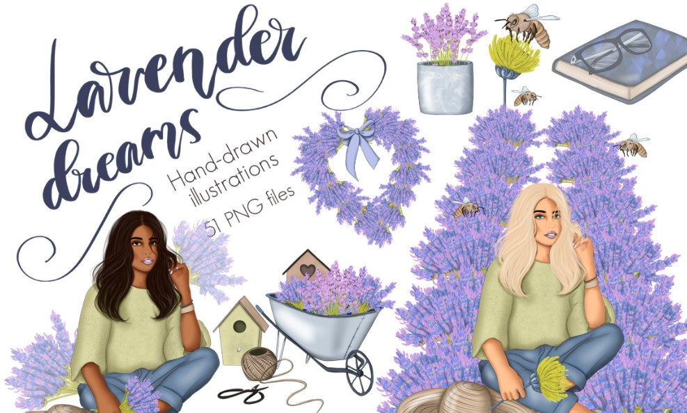 Lavender dreams Spring flowers clipart
