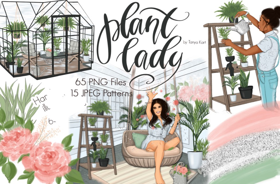 Plant Lady Spring flowers clipart
