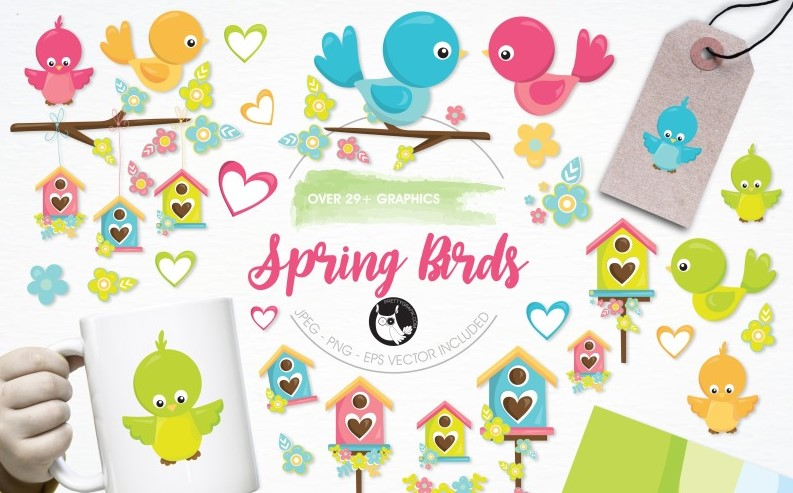 Spring Birds and Flowers Illustration Pack