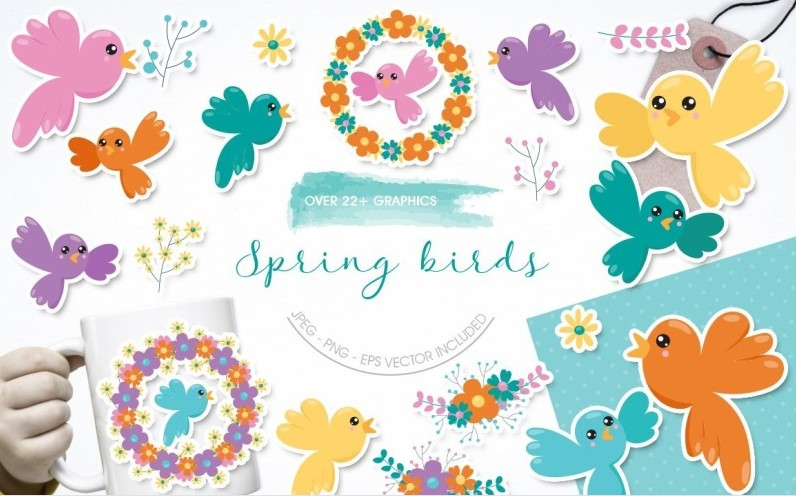 Spring Birds and flowers clipart