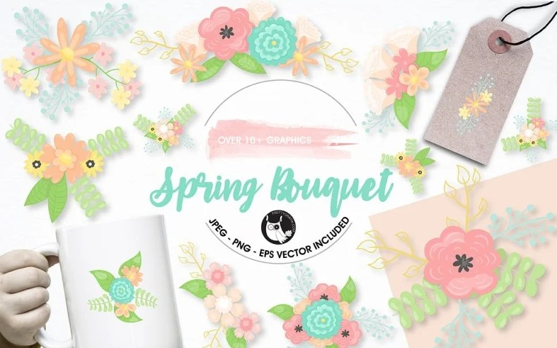 Spring bouquet flowers clipart