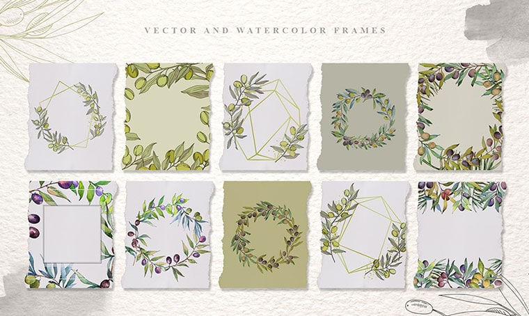 Tuscan Spirit Watercolor Flower Vectors