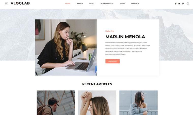 Vloglab WordPress Web Design for Women
