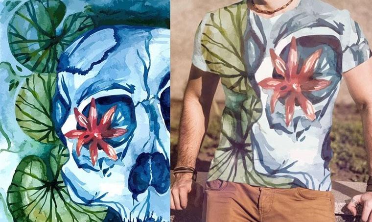 Aqua Skull Watercolor Flower Vectors