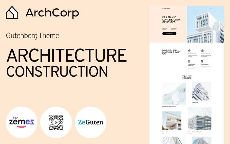 ArchCorp - Architecture Construction Template for Gutenberg
