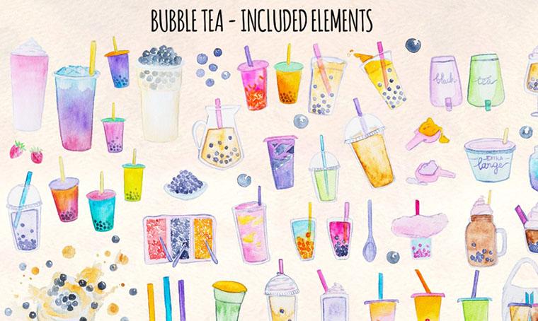 Bubble Tea Watercolor Graphics