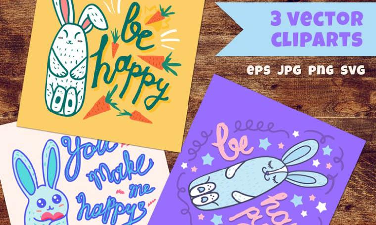 Happy Rabbits Clipart Set