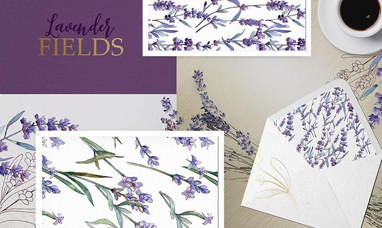 Lavender Fields Watercolor Flower Vectors