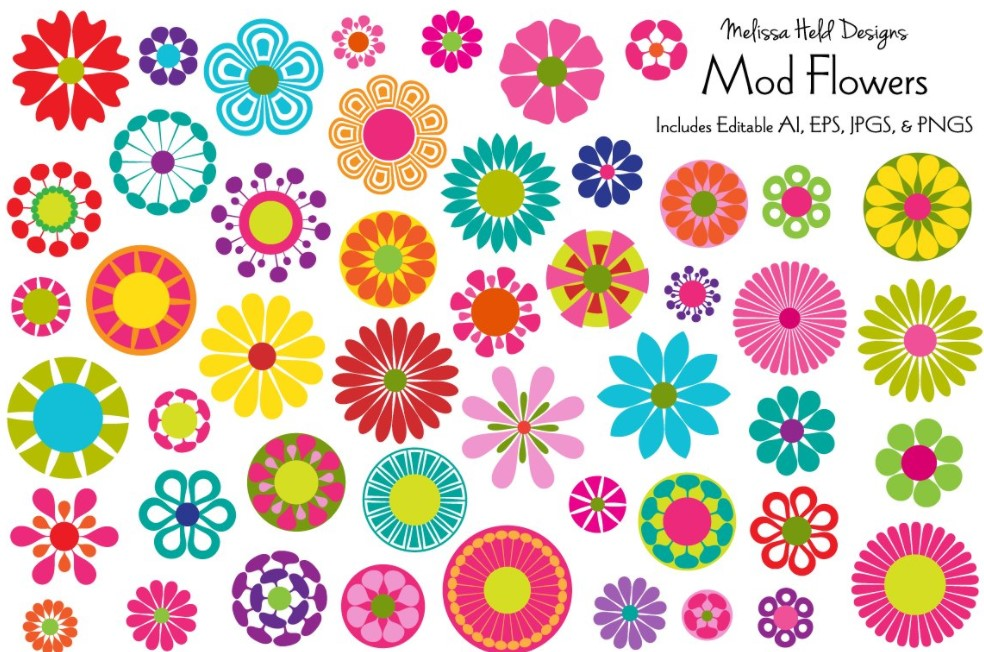Mod Flowers Illustrations