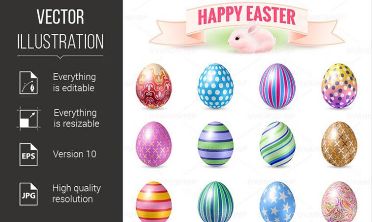Set Of Easter Eggs Vector Illustration