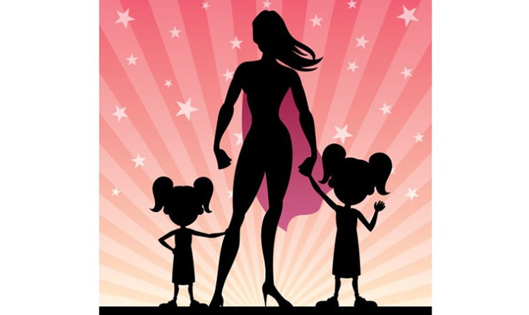 Super Mom and 2 Daughters Illustration