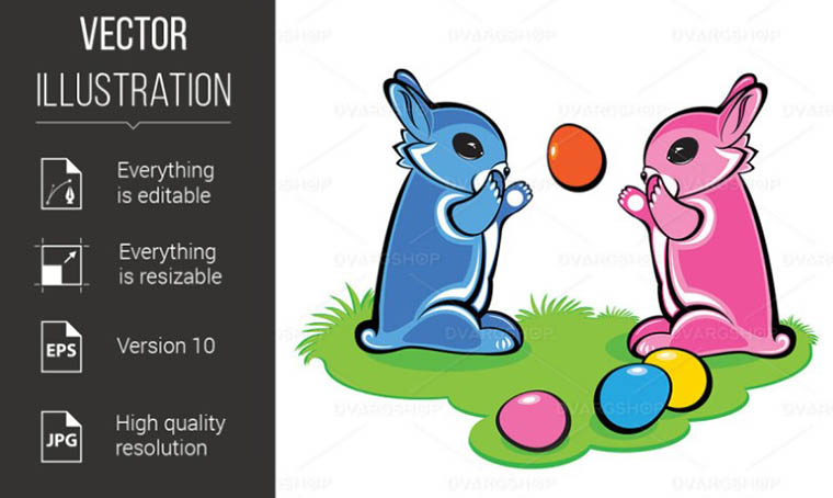 Two Easter Bunnies Vector Illustration