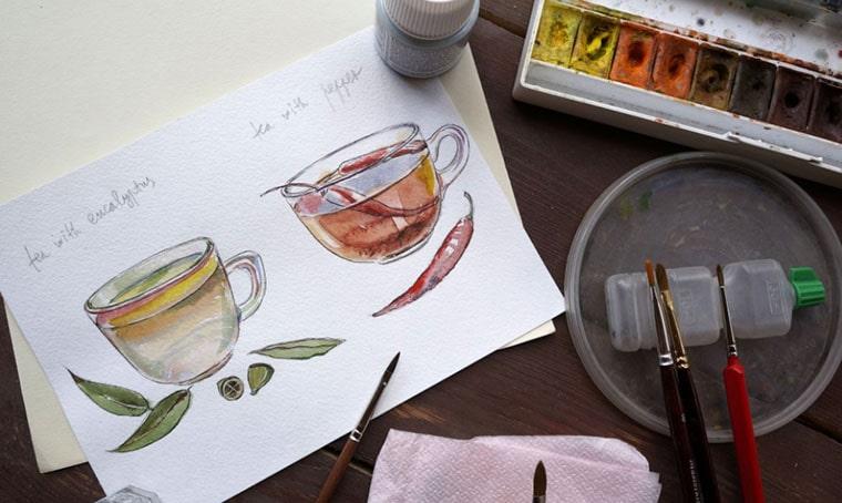 Watercolor Tea - Watercolor Flower Vectors