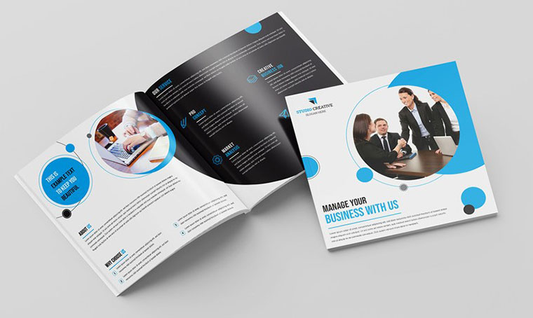 Black & Blue Creative Agency Brochure Templates Google Docs
