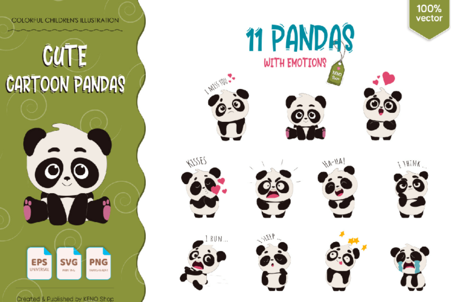 Cartoon Pandas