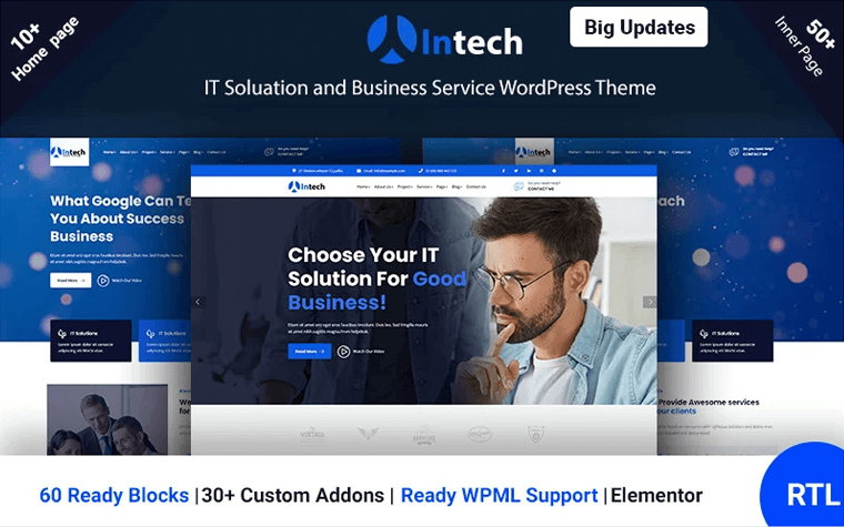 Intech - IT Solution And Technology Services WordPress Theme.