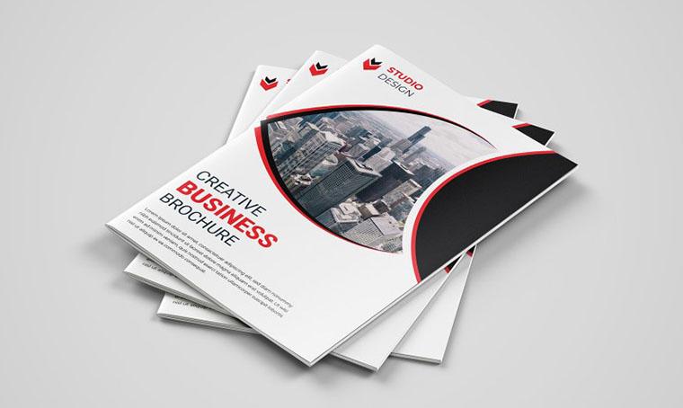 Print-Ready Red & black Brochure Templates Google Docs