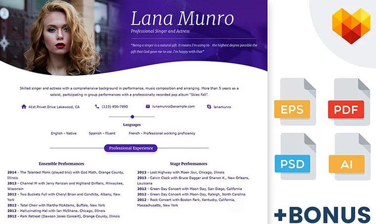 Lana Munro CV Template Word