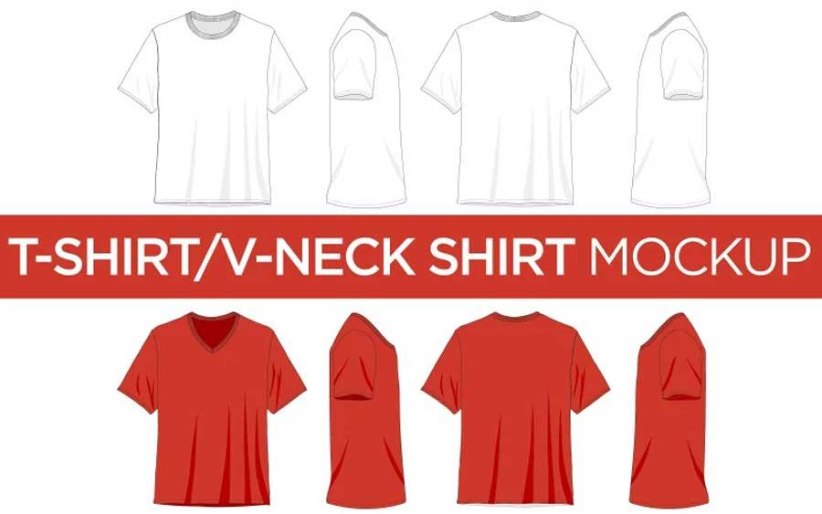 V-Neck Shirts vector mockup