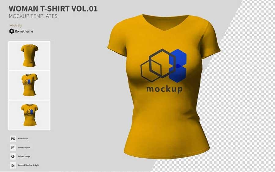 woman t-shirt mockups illustrator