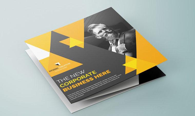 Yellow Triangle Brochure Templates Google Docs