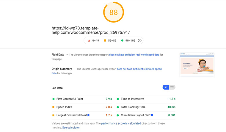 Baby Boom PageSpeed Insights loading speed
