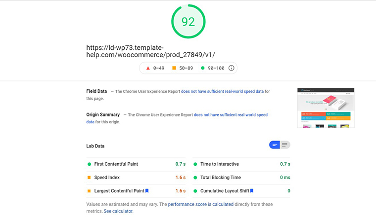 Business Cards Store PageSpeed Insights loading speed