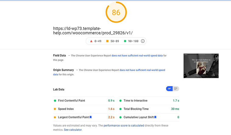 Le Mood PageSpeed Insights loading speed
